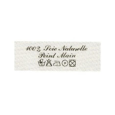Etiquette à coudre - 100% Soie Naturelle Peint Main +symboles